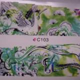 Tatuaj transfer pe baza de apa sticker pentru decorare unghii Full Tip C 103 - Unghii modele