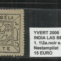 INDIA LAS BELA 1897 - 98 - 1. 1/2 A., Nestampilat