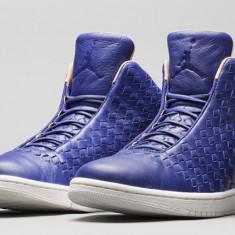 Noi! Bascheti Nike Air Jordan Shine, piele lux, marimea 46 - Adidasi barbati Nike, Culoare: Albastru, Piele naturala