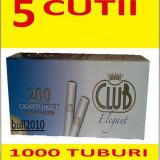 5 x TUBURI CLUB ELEGANT 1000 tuburi, filtre tigari , pentru injectat tutun