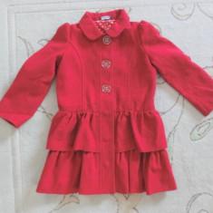 Palton rosu de stofa, de toamna, marca GEORGE, fete 4-5 ani/ 104-110 cm