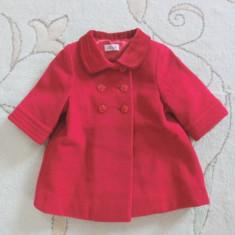 Paltonas rosu de stofa, marca Daisy B de la BHS, fetite 3-6 luni/ 68 cm, Fete