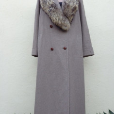 Superb palton Schneiders cu guler amplu de blana naturala - Palton dama, Marime: L/XL, Culoare: Gri