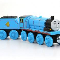 Trenulet de jucarie Fisher Price, 4-6 ani, Lemn, Baiat - Locomotiva Gordon cu vagonul sau, colectia Thomas si prietenii sai