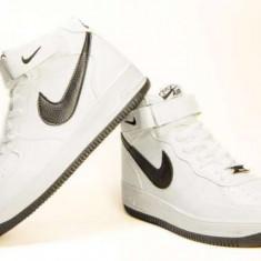 Ghete barbati Nike, Piele sintetica - Ghete Nike Air Force alb-negru livrare gratuita prin posta