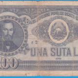 (21) BANCNOTA ROMANIA - 100 LEI 1952, REP. POPULARA ROMANA, SERIE DIN 1 CIFRA