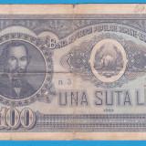 (5) BANCNOTA ROMANIA - 100 LEI 1952, REP. POPULARA ROMANA, SERIE DIN 1 CIFRA