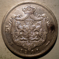 Monede Romania, An: 1901, Argint - R.204 ROMANIA CAROL I 5 LEI 1901 VF/XF ARGINT 25g