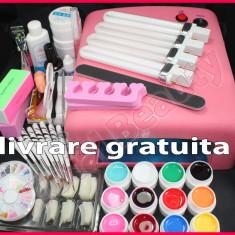Kit unghii false cu Lampa UV 12 geluri colorate 8 pensule livrare GRATUITA