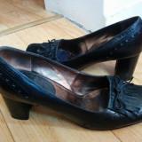 Pantofi din piele firma MEXX marimea 38, arata impecabil! - Pantof dama, Culoare: Negru, Piele naturala