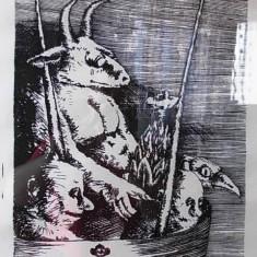 Stefan Caltia, n.1942, litografie pe hartie, 64x44 cm - Pictor roman, Nonfigurativ, Cerneala, Suprarealism