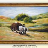 Car cu boi (3) - tablou ulei pe panza, inramat - 57x40cm, reproducere Grigorescu, An: 2016, Peisaje, Altul