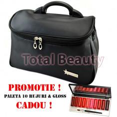 Geanta cosmetice - Geanta cosmetica si manichiura Fraulein38 Black + CADOU Paleta 10 Ruj