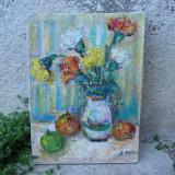 Natura statica, flori multicolore in ulcica si fructe, pictura in ulei - Pictor roman, Altul