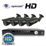 Camera CCTV - Kit supraveghere AHD cu 4 camere 1MP si DVR Eyecam EC-AHD-KIT6
