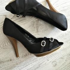 Pantofi dama, Textil - Pantofi cu Toc Platforma Eleganti Satin negru Pietricele 38