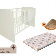 Pat copii - Patut fara sertar KLUPS Karolina II Alb + Saltea Fibra MyKids