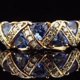 Inel diamant - Inel vintage aur 14k pietre tansanit si briliante deosebit..reducere