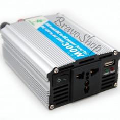 Invertor auto 300W cu USB la 24V