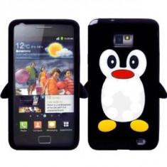 Husa silicon negru pinguin Samsung Galaxy S2 + folie protectie cadou - Husa Telefon Samsung, Mov, Carcasa