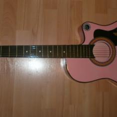 Chitara clasica - Chitara pentru incepatori model elvis culoare roz si husa