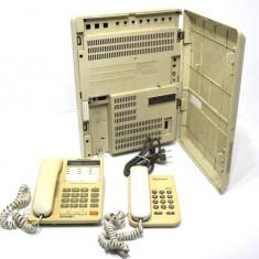 Centrala telefonica + 2 telefoane Panasonic KX-T30810B prevazuta cu 3 CO (linii externe analogice) si 8 linii interioare si / sau hibride - Sistem teleconferinta