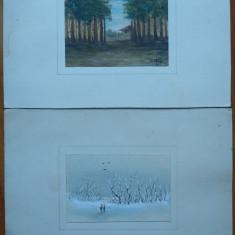 2 peisaje , miniaturi , una semnata , ulei / carton , datata 1939