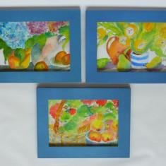 MEGA - REDUCERE!!! Trei acuarele cu fructe si flori / tablou acuarela - Tablou autor neidentificat, Realism