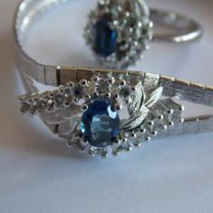 Set de argint -bratara si inel cu ziconii albe si albastre -145 - Set bijuterii argint