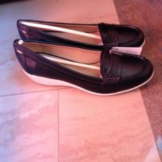 Pantofi piele naturala, mocasini, marca Geox NOI, marimea 39 talpa ortopedica - Mocasini dama Geox, Culoare: Negru