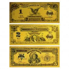 S.U.A. - SET 3 BANCNOTE 1899 - 1$, 2$, 5$ POLYMER AURIT CU AUR 24K - bancnota america
