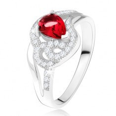 Inel argint 925, ştras rubiniu în formă de lacrimă, linii curbate, cu zirconiu
