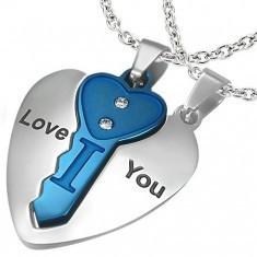 Pandantiv puzzle pentru iubiţi - cheie şi inimă