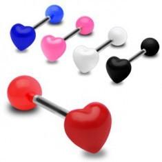 Piercing colorat pentru limbă, inimă simetrică, lucioasă - Piercing limba