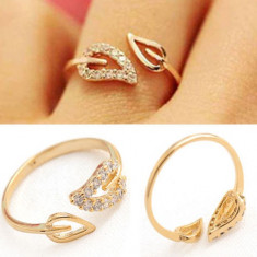 Inel ashion culoarea auriu, fashion, reglabil, inel frunze, Marime: 17