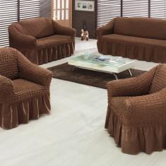 Set huse creponate si elastice canapele si fotoliu 3+2+1 Maro - Husa pat