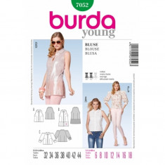 Tipar Bluza cu maneci bufante si bluza fara maneci Burda Style