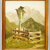 PICTURĂ VECHE ÎN ULEI PE PÂNZĂ - TROIȚĂ - TABLOU ÎNRĂMAT, SEMNAT ORTLENBURGER! - Pictor strain, Religie, Impresionism