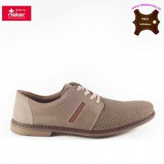Pantofi barbati piele naturala RIEKER bej (Marime: 44)