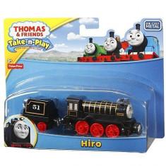 Trenulet locomotiva metalica Hiro cu vagon - Thomas&Friends Take N Play - Trenulet de jucarie Fisher Price