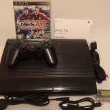 Consola Sony Playstation3 SuperSlim impecabil complet+Joc BluRay PS3 Fotbal PES