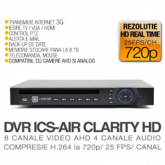 DVR AHD, ICS-AIR CLARITY HD V3, 8 Canale Video, 4 Canale Audio, Rezolutie HD 720p, Vizualizare pe Internet ICANSEE
