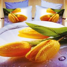 Lenjerie bumbac satinat cu 6 piese model floral 3D - lenjerie cod XJC8017 - Lenjerie de pat