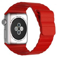 Curea piele pentru Apple Watch 42mm iUni Red Leather Loop - Smartwatch