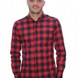 Camasa tip ZARA -In carouri rosu cu negru - Eleganta -Slim Fit - Barbati - Camasa barbati, Marime: M, L, XL, Culoare: Din imagine, Maneca lunga