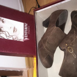Pantofi piele naturala intoarsa, mar. 37, casual, foarte comozi, putin purtati - Pantofi dama, Culoare: Maro