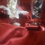 Set de pahare pentru miri, decorate manual, unicat!