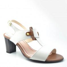 Sandale Dama. Model Piele Naturala Alba Havan cu Toc Mediu
