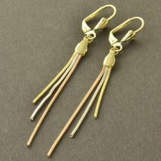 Cercei placati cu aur pandora - Cercei lungi gold filled filati placati cu aur 3 alb galben roz +cutiuta cadou