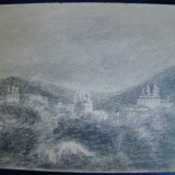 Tablou, Religie, Carbune, Miniatural - Manastirea Varatec, desen original din 1917 de St.SACHIM